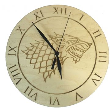 House Stark Maple Clock